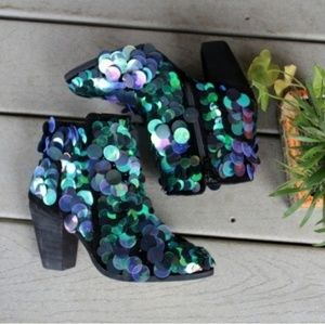 Free People Out Until Dawn Sequin Party Booties